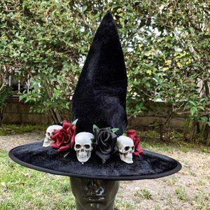 Halloween Skull & Rose Black Witch Hat